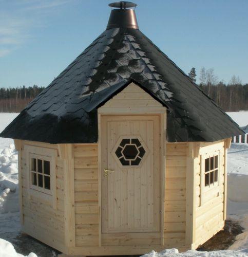 Warehouse Hut: 7m2 Log FINSH BBQ Hut Cabin , Timber Log Cabin / Summer